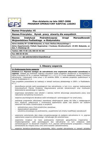 Zatwierdzony Plan Działania dla Priorytetu VI w województwie ...