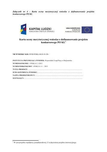 Karta oceny merytorycznej wniosku o dofinansowanie projektu konkursowego PO KL