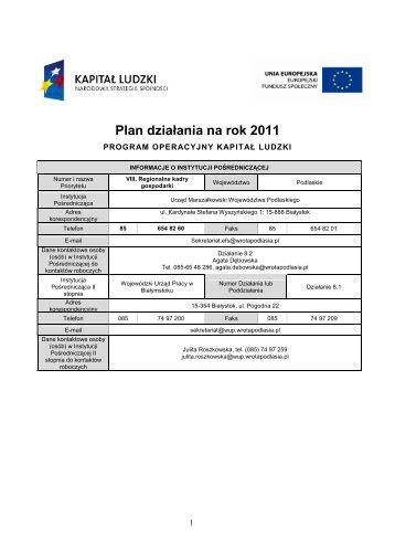 Plan działania na rok 2011
