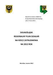 DOLNOŚLĄSKI REGIONALNY PLAN DZIAŁAŃ NA RZECZ ZATRUDNIENIA NA 2012 ROK