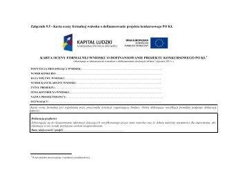 Załącznik 9.5 - Karta oceny formalnej wniosku o dofinansowanie ...