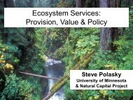 Ecosystem Services: Provision, Value & Policy