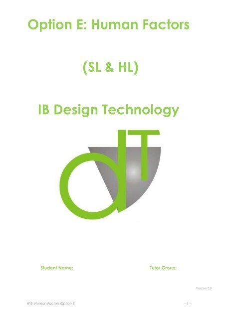 Option E Human Factors Sl Hl Ib Design Technology