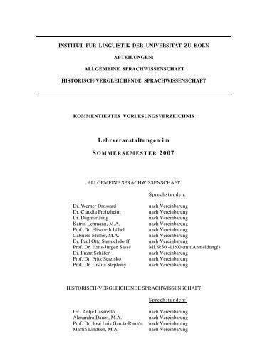 Sommersemester 2007 - Institut für Linguistik - Universität zu Köln