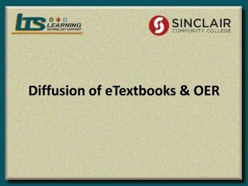 Diffusion of eTextbooks & OER
