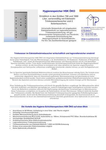 Kombispeicher HSK ÖKO - mp moderne Pellet u. Solartechnik gmbH