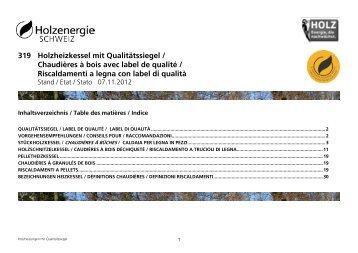 319 Chaudières à bois avec label de qualité - Energie-bois Suisse