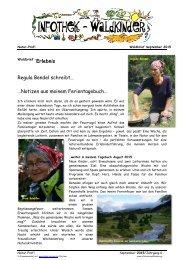 Infothek Waldkinder - Regula Bendel schreibt Notizen aus meinem Ferientagebuch