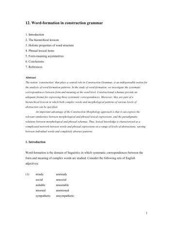 12. Word-formation in construction grammar - 300 Multiple Choices