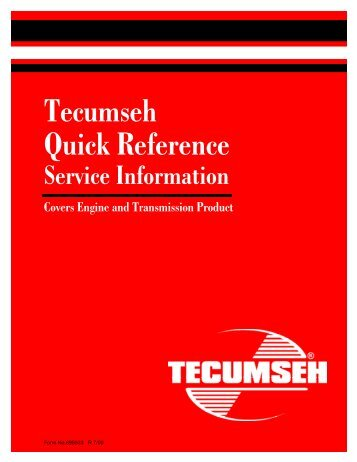 Tecumseh Quick Reference - Small Engine Suppliers