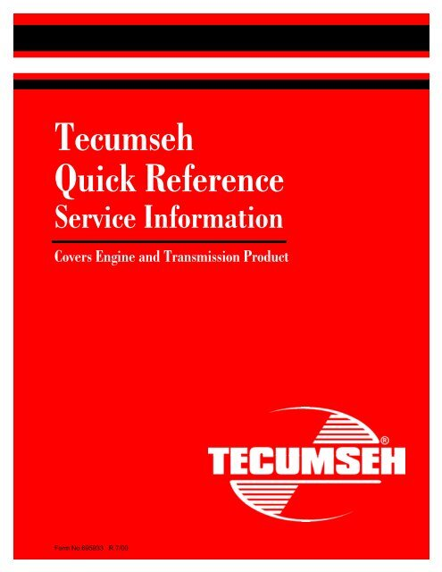 Tecumseh Quick Reference Small Engine Suppliers