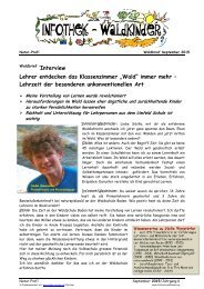 """Infothek Waldkinder - Interview mit Sibille Winistörfer - Lehrer entdecken das Klassenzimmer """"Wald"""" immer mehr –  Lehrzeit der besonderen unkonventionellen Art"""