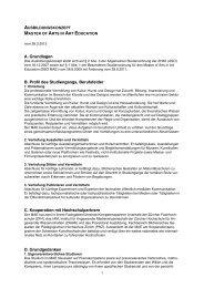 AK Master of Arts in Art Education - Zürcher Hochschule der Künste