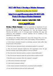 MGT 450 Week 1 Develop a Mission Statemen