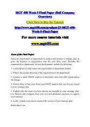 MGT 450 Week 5 Final Paper (Dell Company Ov