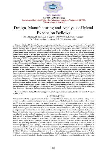 Design Manufacturing and Analysis of Metal Expansion Bellows