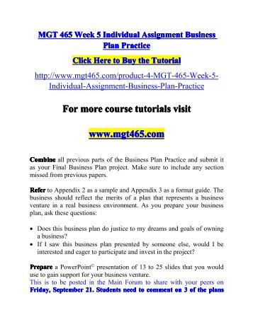 MGT 465 Week 5 Individual Assignment Business Plan Practic