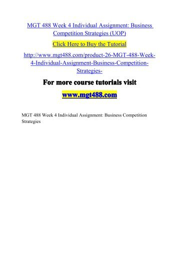 mgt 426 week 5 individual assignment For more course tutorials visit wwwmgt426com mgt 426 week 1 individual assignment article review mgt 426 week 1 dq 1 mgt 426 week 1 dq 2 mgt 426 week 2 individual assignment roles of managers and individuals paper mgt 426 week 2 learning team assignment managing change paper part i mgt 426 week 2 dq 1 mgt 426 week 2 dq 2 mgt 426 week.