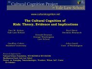 The Cultural Cognition of Risk Theory Evidence and Implications