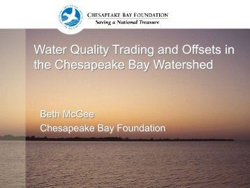 Water Quality Trading and Offsets in the Chesapeake Bay Watershed