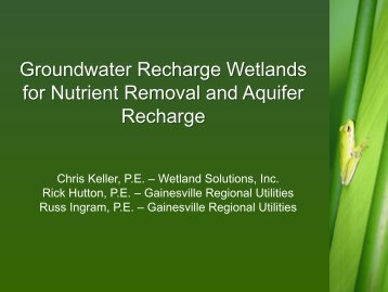 Groundwater Recharge Wetlands for Nutrient Removal and Aquifer Recharge