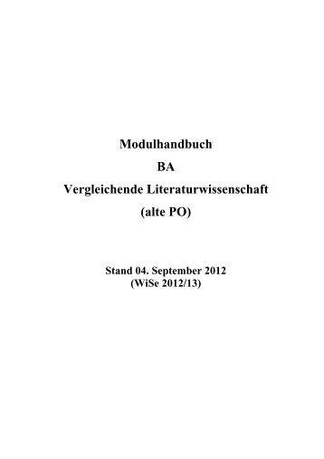 Modulhandbuch Bachelor Vergleichende Literaturwissenschaft WS ...