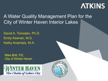 A Water Quality Management Plan for the City of Winter Haven Interior Lakes