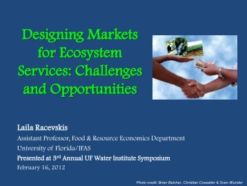 Designing Markets for Ecosystem Services Challenges and Opportunities
