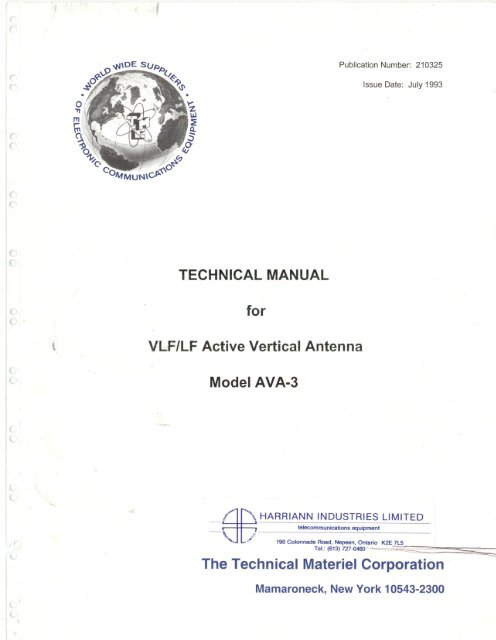 Technical Manual for VLF/LF Active Vertical Antenna Model AVA-3