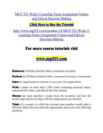 Mgt 521 week 3 individual assignment