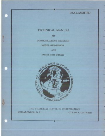 Technical Manual for Communications Receiver Model GPR ...