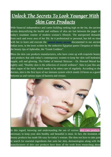 Unlock The Secrets To Look Younger With Skin Care Products.pdf