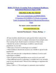 BSHS 375 Week 4 Learning Team Assignment Healthcare Educational Resources Paper (UOP)/TutorialRank