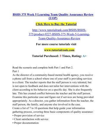 BSHS 305 Week 3 Learning Team Case Scenario Worksheet