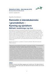 Rannsókn á íslenskukennslu í grunnskólum – Kynning og ... - Netla