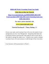 BSHS 402 Week 2 Learning Team Case Study/TutorialRank