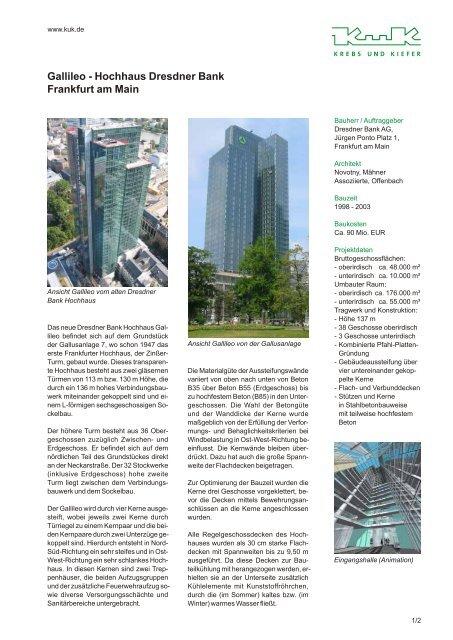 Gallileo Hochhaus Dresdner Bank Frankfurt Am Main