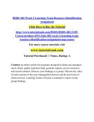 BSHS 402 Week 3 Learning Team Resource Identification Assignment/TutorialRank