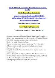BSHS 405 Week 2 Learning Team Intake Assessment (UOP)/TutorialRank