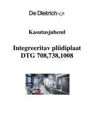 Integreeritav pliidiplaat DTG 708,738,1008