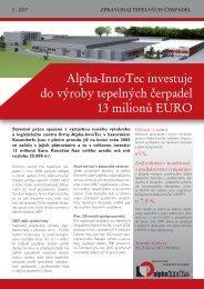 Alpha-InnoTec investuje do výroby tepelných čerpadel 13 milionů EURO