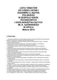 lista tematów do części ustnej egzaminu z języka polskiego