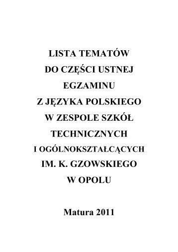lista tematów - Zespół Szkół Technicznych i Ogólnokształcących im ...