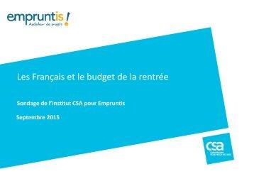 Les Français et le budget de la rentrée