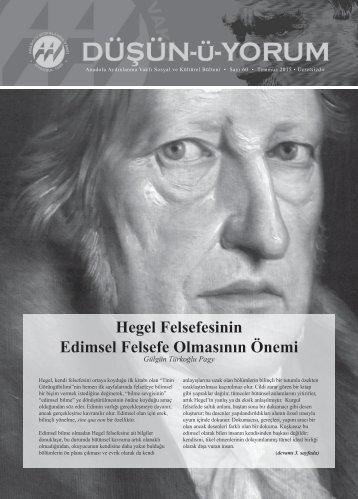 Hegel Felsefesinin Edimsel Felsefe Olmasının Önemi