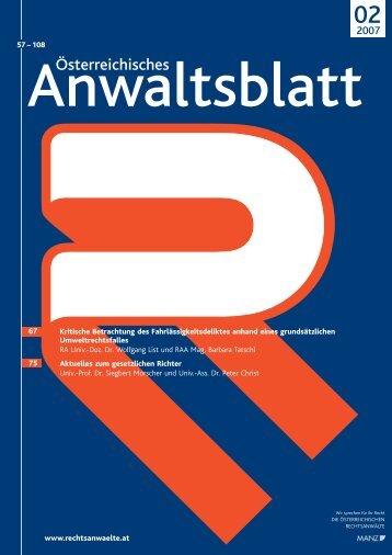 Anwaltsblatt 2007/02 - Österreichischer Rechtsanwaltskammertag