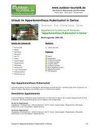 Urlaub im Appartementhaus Hubertushof in Gerlos - Outdoor-Touristik