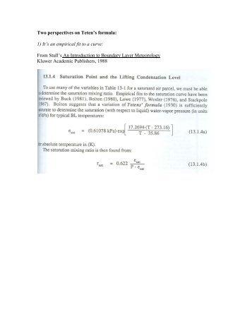 Teten's equation