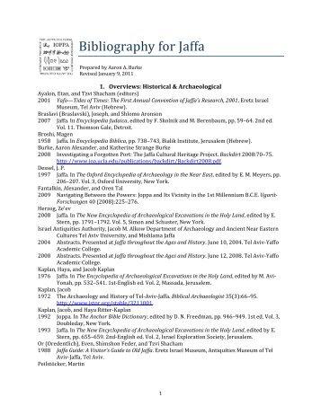 Bibliography for Jaffa