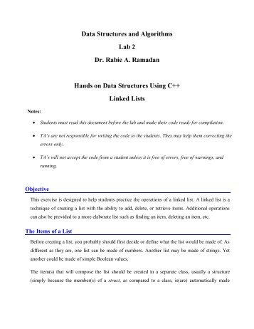 Lab 2 Dr Rabie A Ramadan Hands on Data Structures Using C++ Linked Lists
